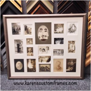 Family Photo Collage Custom Design and Framing by Karen's Detail Custom Frames, Orange County CA