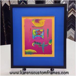 Custom Frame Colorful Art by Karen's Detail Custom Frames, Orange County CA.