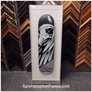 Skateboard Acrylic Display Box | Custom Design and Framing by Karen's Detail Custom Frames, Orange County, CA.