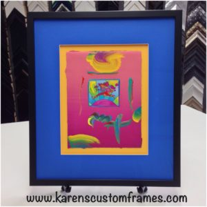 Custom Frame Colorful Art by Karen's Detail Custom Frames, Orange County CA.