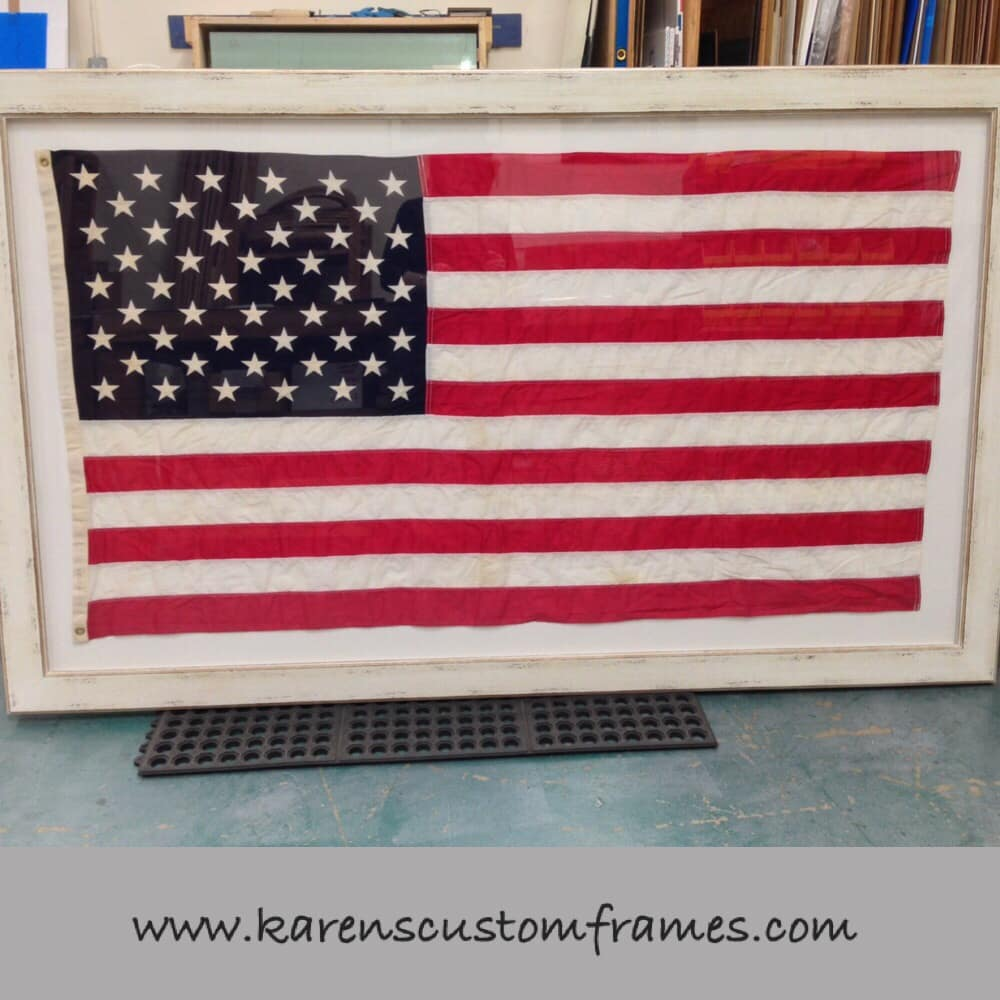 Flag Shadow Box | Custom Design and Framing by Karen's Detail Custom Frames, Orange County CA