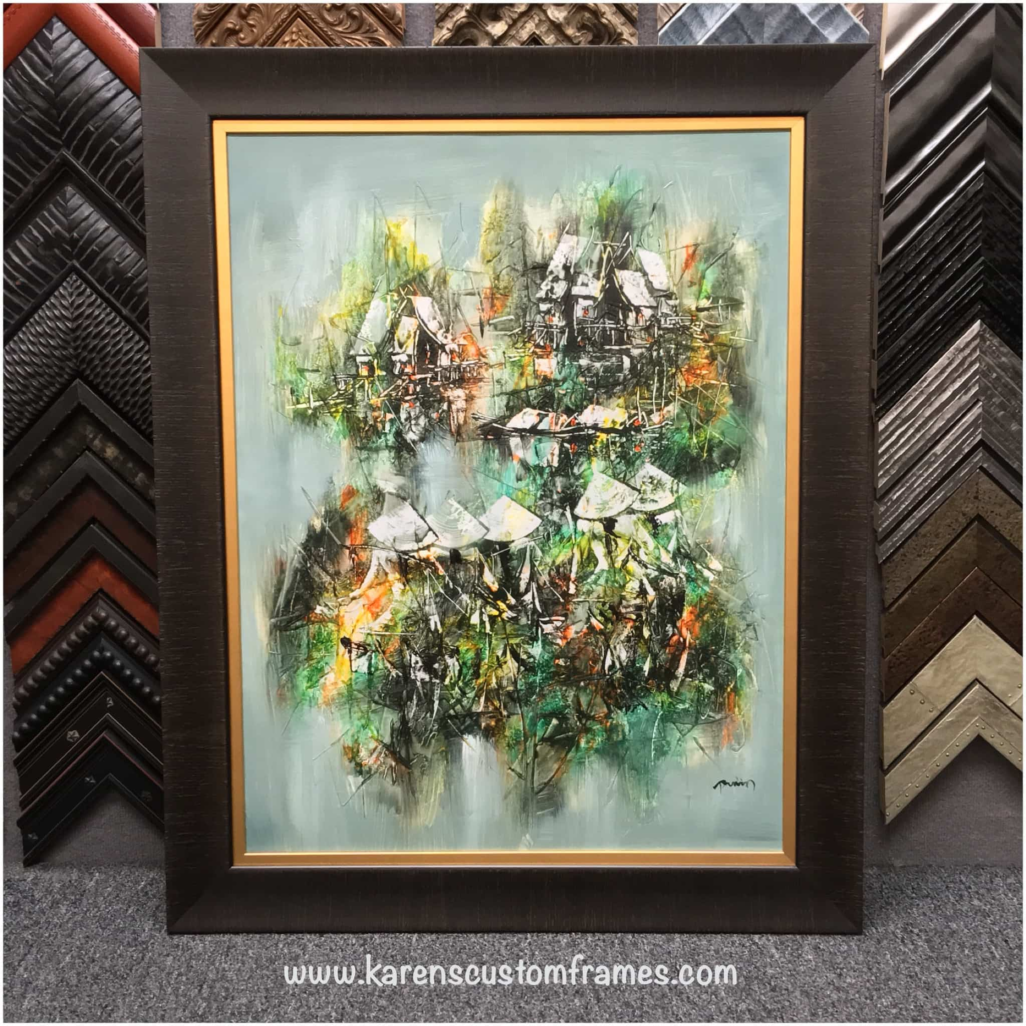 Original Painting | Custom Design and Framing by Karen's Detail Custom Frames