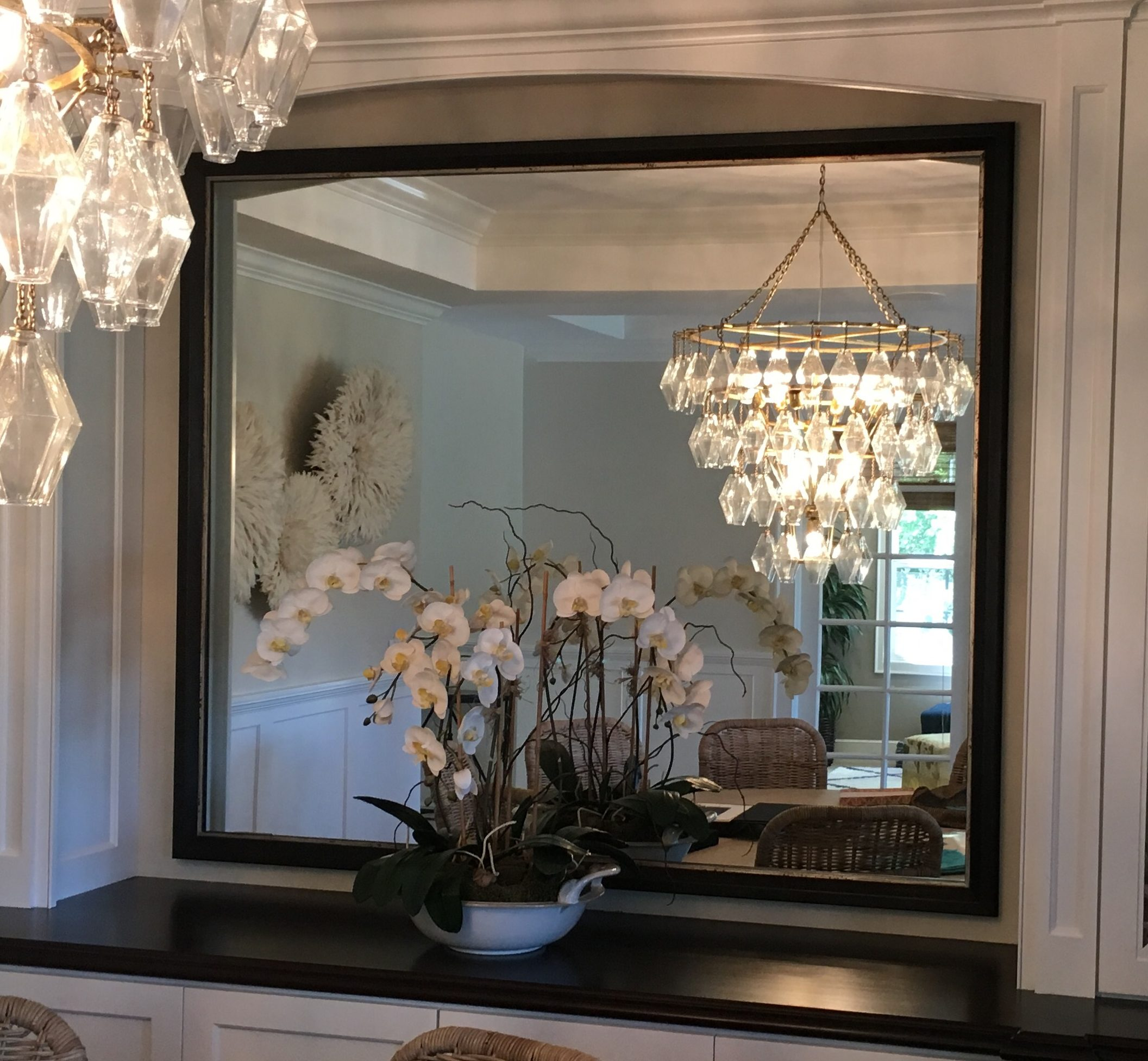 Custom Framed Mirror |  Custom Design and Framing by Karen's Detail Custom Frames, Orange County CA