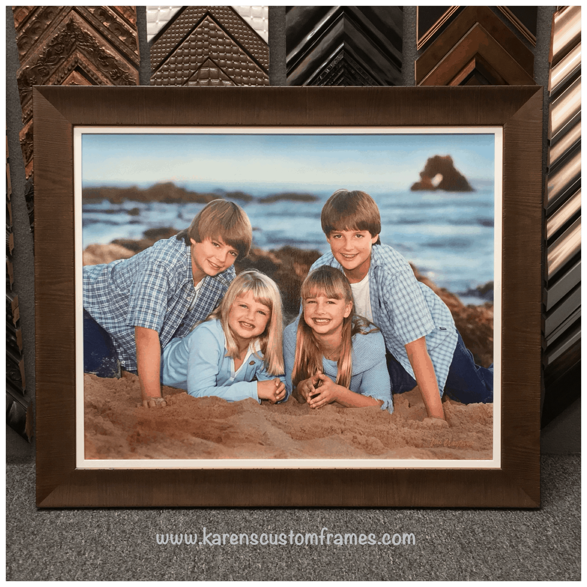 Family Photography | Custom Design and Framing by Karen's Detail Custom Frames, Orange County CA
