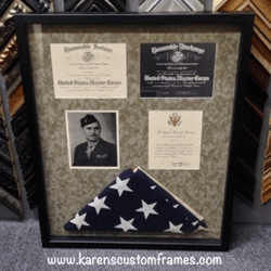 Military Service | Shadowbox Display | Custom Design and Framing by Karen's Detail Custom Frames