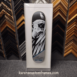 Tony Hawk Skateboard | Shadowbox Display | Custom Design and Framing by Karen's Detail Custom Frames