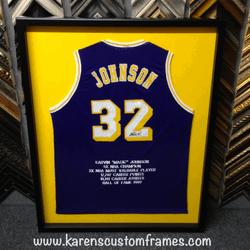 Johnson Jersey | Sports Memorabilia | Custom Design and Framing by Karen's Detail Custom Frames