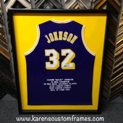 Johnson Jersey | Sports Memorabilia | Custom Design and Framing by Karen's Detail Custom Frames