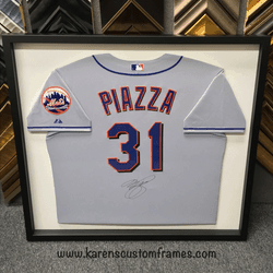 Piazza Jersey | Sports Memorabilia | Custom Design and Framing by Karen's Detail Custom Frames