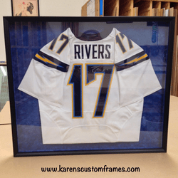 Rivers Jersey | Sports Memorabilia | Custom Design and Framing by Karen's Detail Custom Frames