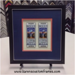 Super Bowl Tickets | Shadowbox Display | Custom Design and Framing by Karen's Detail Custom Frames