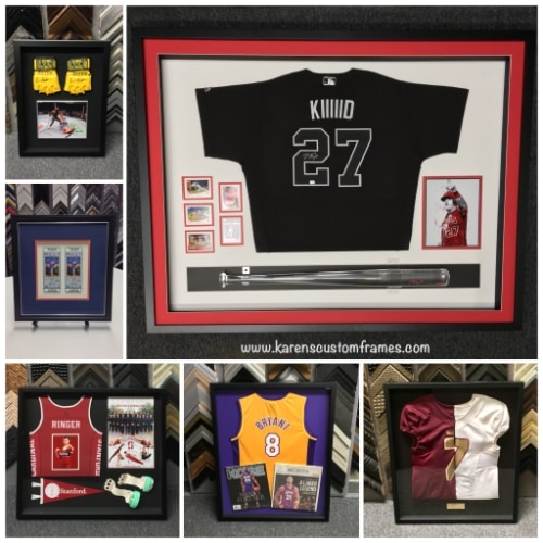 6 images displaying sports jerseys in frames