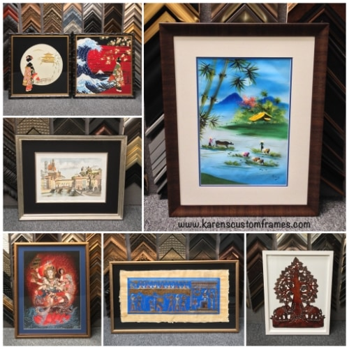 collage of 6 different art pieces in frames